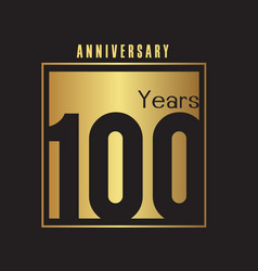 100 years anniversary gold square frame background vector image