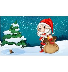 A short Santa with a sack of gifts vector image