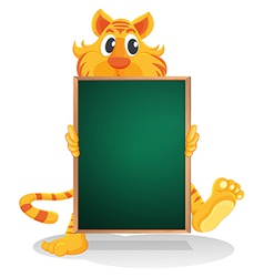 A tiger holding an empty board vector