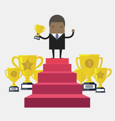 african businessman win price vector image