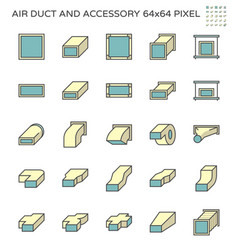 Air duct and accessory icon set 64x64 perfect vector