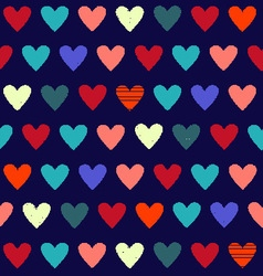 background with cute hearts on dark blue vector image