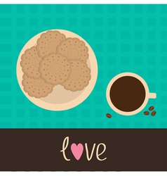 Biscuit cookie cracker on plate and coffee vector