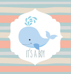 Blue whale its a boy striped background vector