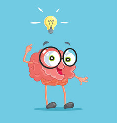 Brain cartoon character having an idea vector