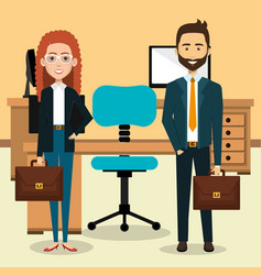 Businesspeople in the office avatars characters vector