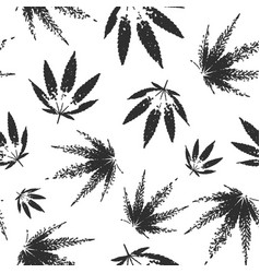 cannabis seamless pattern design - black and white vector image