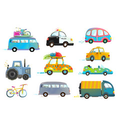 Car bus taxi police truck bicycle clipart vector