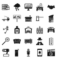 Car recorder icons set simple style vector