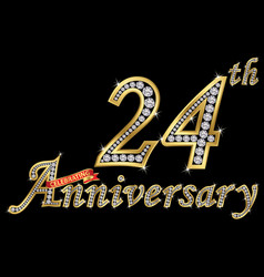 Celebrating 24th anniversary golden sign with vector
