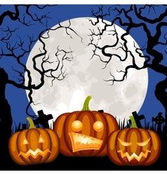 cemetery and pumpkin vector image