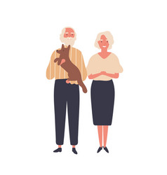 Cheerful old couple flat aged vector
