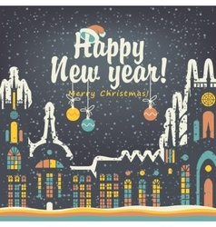 Christmas card with winter old city vector image