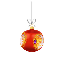 christmas red glass ball with gold ornaments and vector image