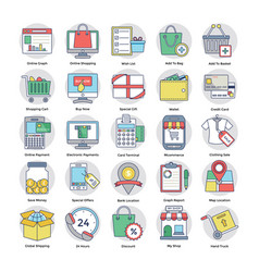 Circular set of shopping and commerce vector