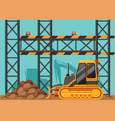 construction site with bulldozer and metal bars vector image