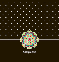 Cover oriental-style card cute picture dots black vector