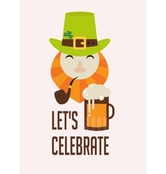 Cute cartoon leprechaun with beer st patricks vector