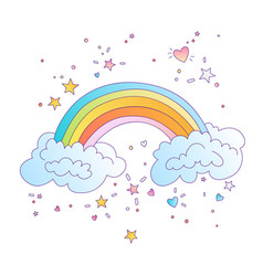 cute colored rainbow with clouds and vector image