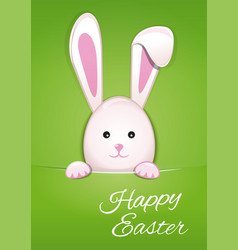 cute easter bunny on spring green background vector image