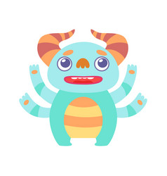 cute light blue horned monster adorable alien vector image