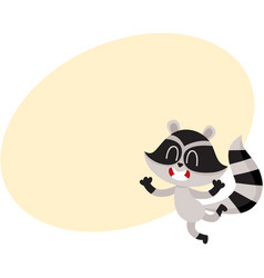 Cute little raccoon character jumping from vector