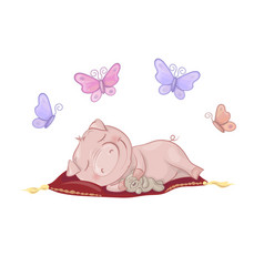 cute pig sleeping vector image