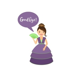 Cute princess with speech bubble vector image