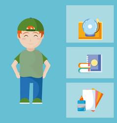 cute school boy with utensils vector image