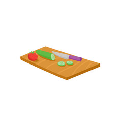 Cutting board knife tomato and cucumber vector