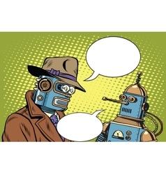 Dad and son robots vector