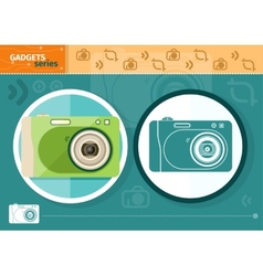 Digital camera in frame on green background vector