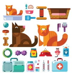 Domestic animals with their toys vector