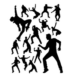 energetic modern dancer activity silhouettes vector image