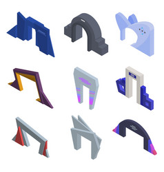 Entrance arch icons set isometric style vector