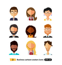 Flat icons avatars users office business people vector