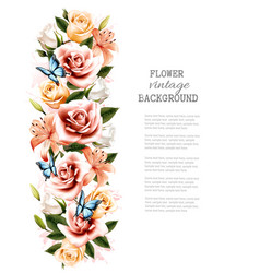 flower background with beautiful roses and vector image