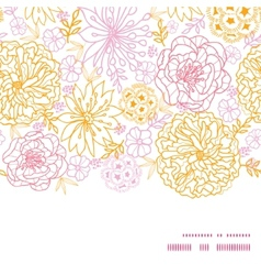 flowers outlined horizontal frame seamless vector image