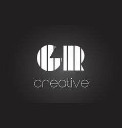 Gr g r letter logo design with white and black vector
