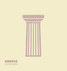 greek classical column icon in flat style vector image