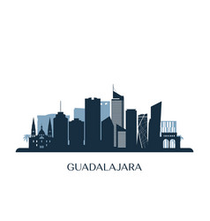 guadalajara skyline monochrome silhouette vector image