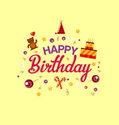 Happy birthday flat style card with gifts vector