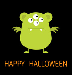 happy halloween cute green monster icon cartoon vector image