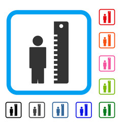Height meter framed icon vector