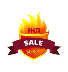 hot sale heraldic badge promo offer 50 percent off vector image