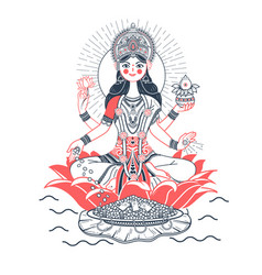 Icon godess laxmi lotus vector