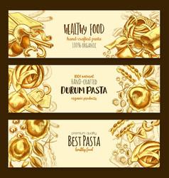 Italian durum pasta cuisine banners vector