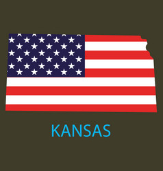Kansas state of america with map flag print on vector