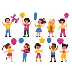 kids with balloons cartoon fun happy girls vector image
