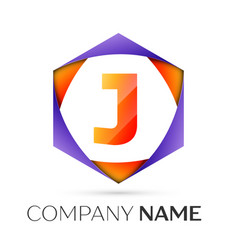 Letter j symbol in the colorful hexagonal vector